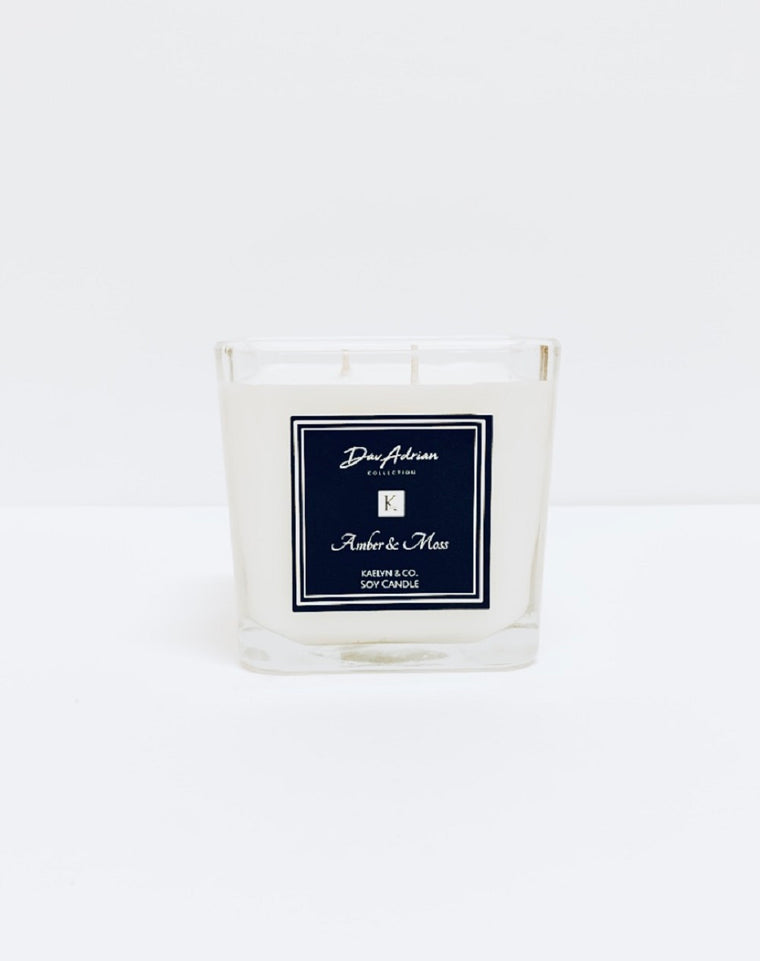 DavAdrian Collection Amber & Moss Medium Cube Candle - Kaelyn & Co.