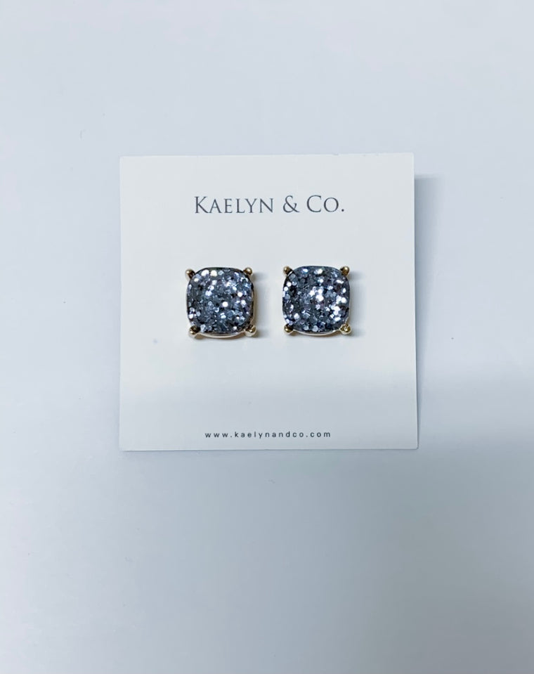 Kaelyn & Co. Gray Sparkle Stud Earrings - Kaelyn & Co.