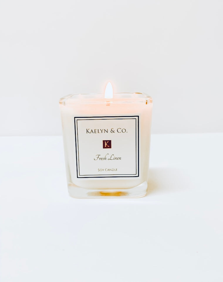 Fresh Linen Small Cube Candle - Kaelyn & Co.
