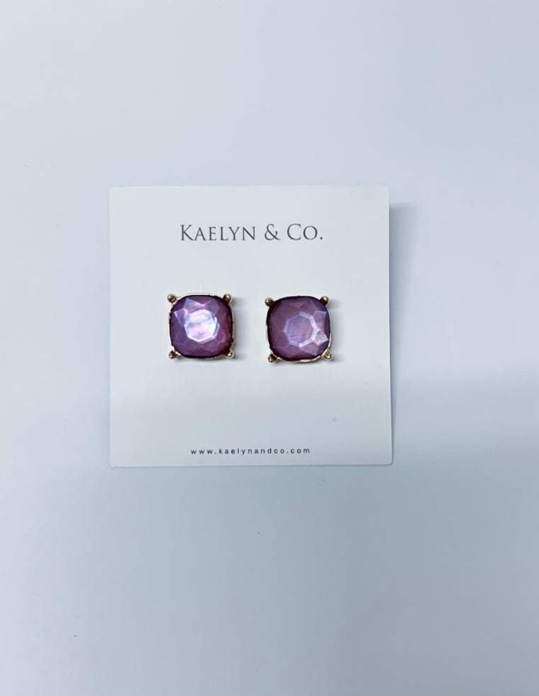 Kaelyn & Co. Purple Stud Earrings - Kaelyn & Co.