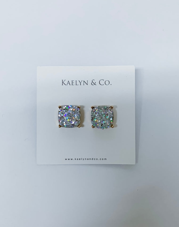 Kaelyn & Co. Silver Sparkle Stud Earrings