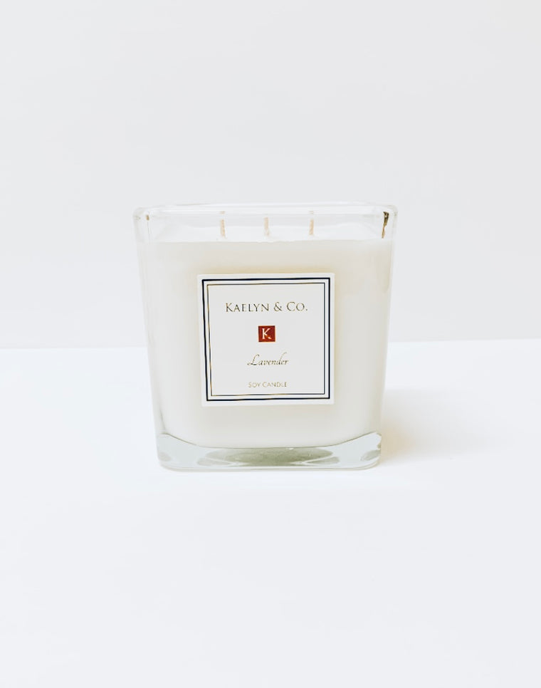 Lavender Large Cube Candle - Kaelyn & Co.