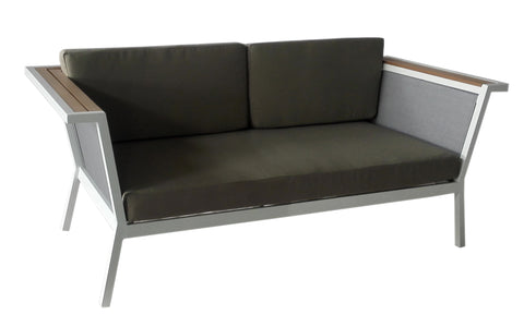 Remix Resin Wood Grey Sling back Double Sofa w/ Sunbrella Cushion