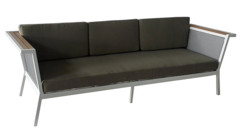 Remix Resin Wood Grey Sling back Triple Sofa w/ Polyester Cushion