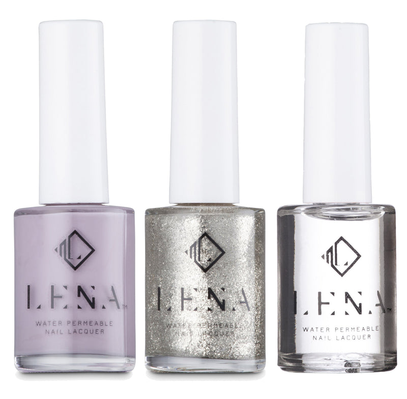 NEW** Breathable Halal Lilac and Glitter Tip French Manicure - by LENA