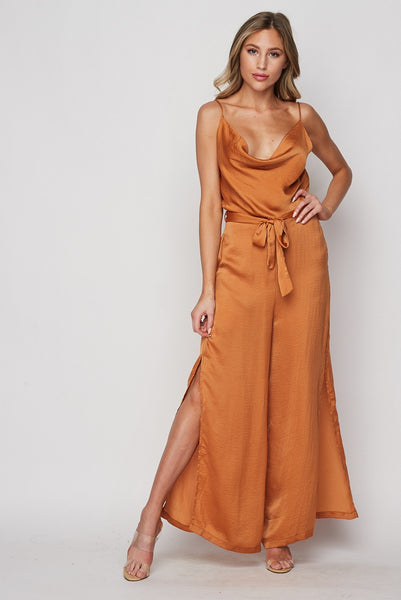 Scoop Neck Satin Jumpsuit