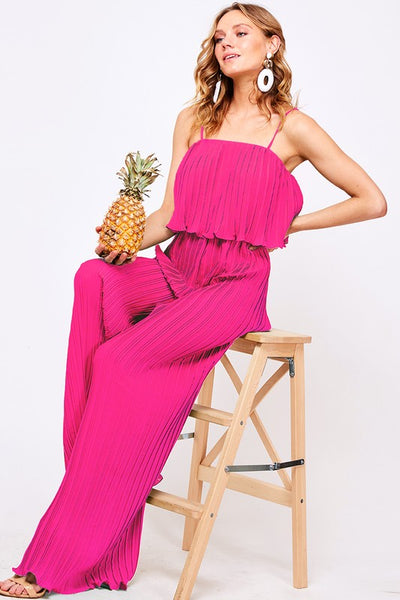 Pleated Ruffle Jumpsuit