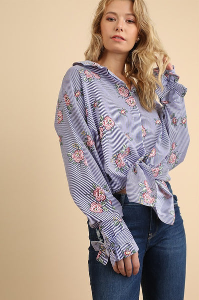 Floral Print Button Down Top