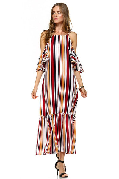 Multi Stripe Cold Shoulder Maxi Dress