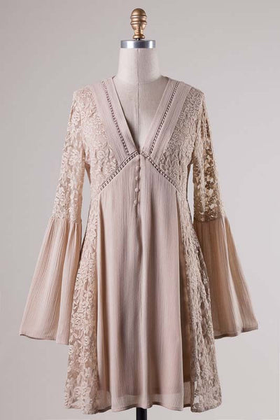Long bell sleeve, v-cut, floral lace Dress