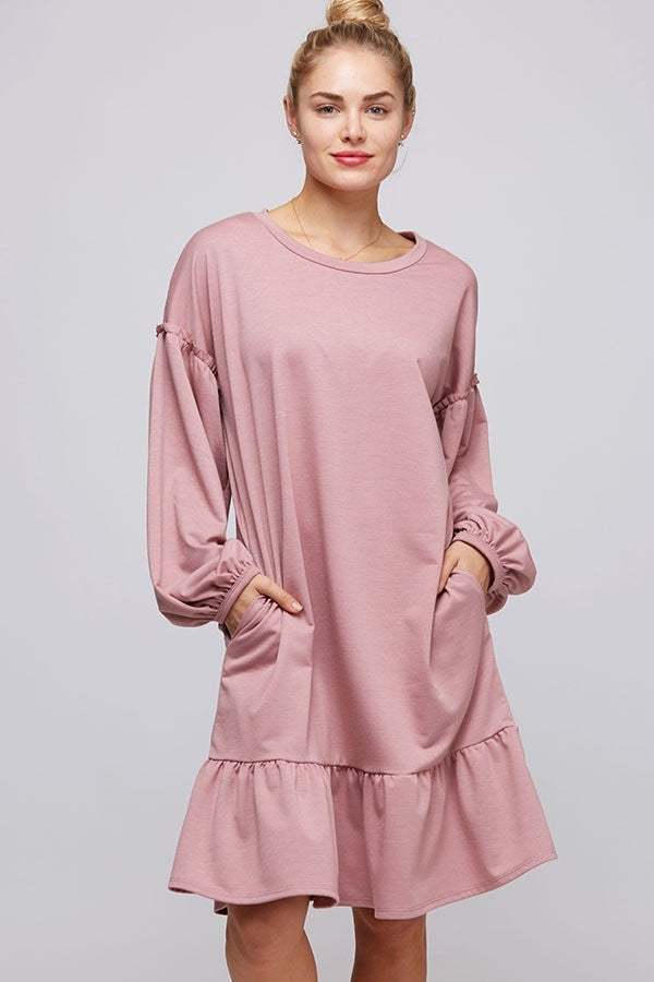 Peasant Sleeve Sweatshirt Dress