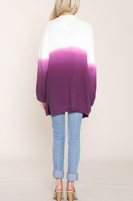 Knit Ombre Open Cardigan With Pockets