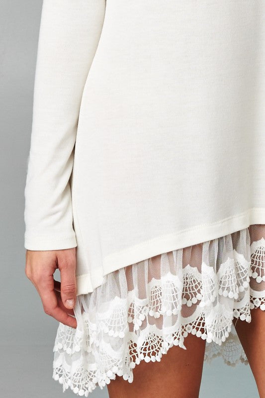 Long Sleeve Solid Hacci Knit Dress With Lace Trimmed Bottom Tunic Dress