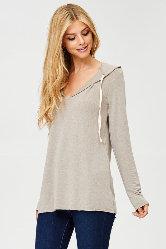 Raw Edge V-neck Hooded Sweater in French Terry