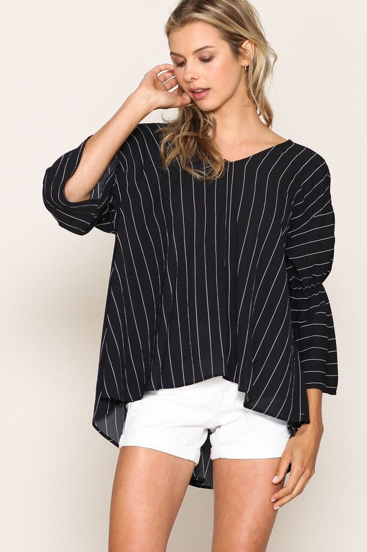 Striped V Neck Blouse