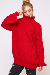 Oversized Cable Knit Sweater w/Balloon Slv