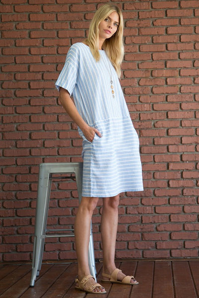 3/4 Sleeve Round Neck Stripe Maxi Dress