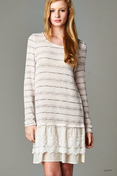 Long Sleeve Knit With Double Layer Contrast Tunic Dress