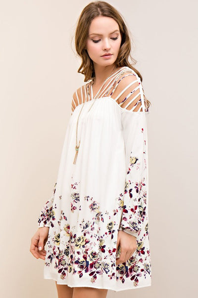 Floral Print Shift Dress Featuring Strappy Shoulder Detail Side-pockets.