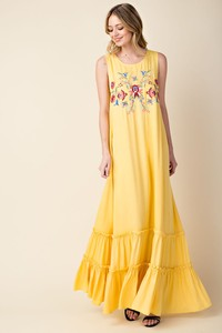 Sleeveless Floral Embroidery Maxi Dress with Ruffle Hemline