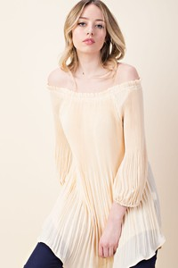 Off the Shoulder Pleated Top