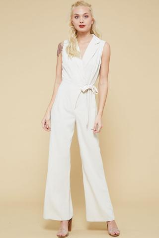 Sleeveless Collar Jumpsuit w/ Side Waist Tie