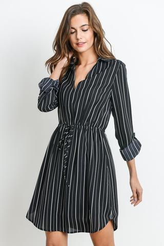 Striped Dress w/ Collar