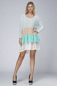Long Sleeve Knit With Lace On Bottom Tunic Dress