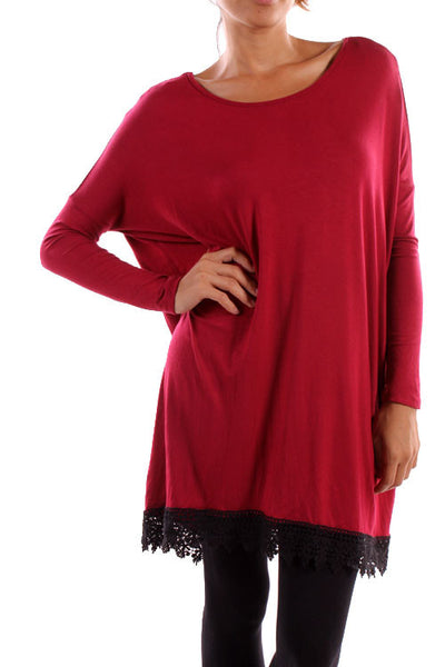 Long Sleeve With Back Lace  Tunic Dress