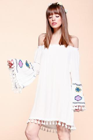 Off the Shoulder 3/4 Bell Slv w/ Tassel on Sleeves and bottom Woven Dress