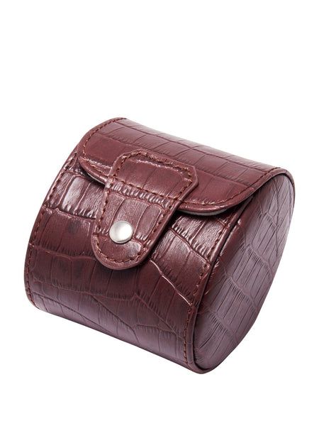 Brown Croc-effect Leather Watch Case