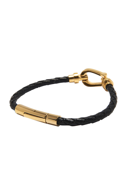 DW Leather Horseshoe Bracelet with Gold