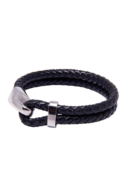 DW Double Leather Bracelet with Silver