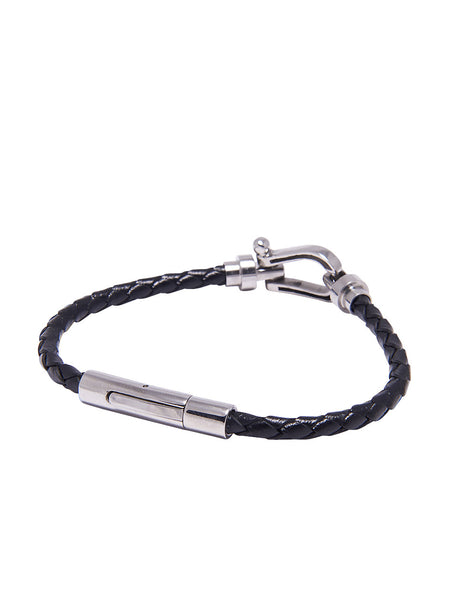 DW Leather Horseshoe Bracelet with Silver