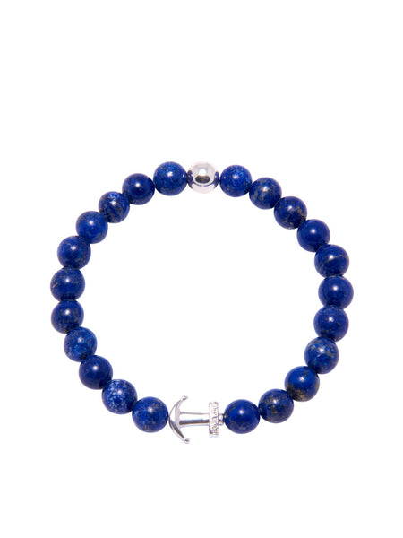 DW Blue Lapis and Silver Anchor Bracelet