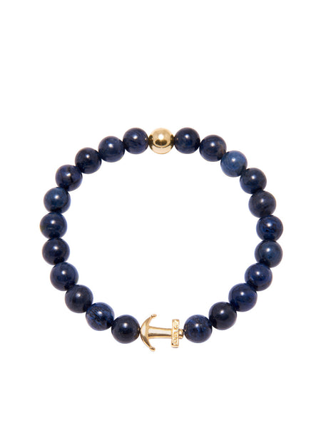 DW Blue Coral and Gold Anchor Bracelet