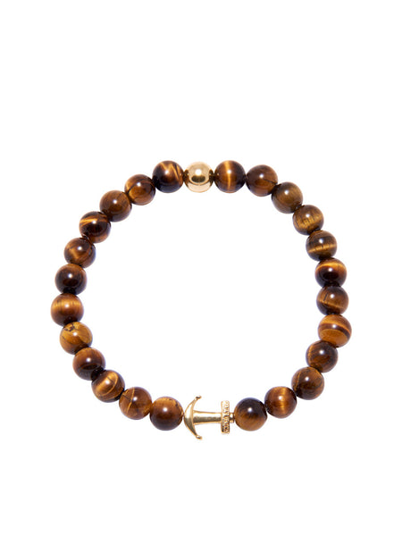 DW Brown Tiger Eye and Gold Anchor Bracelet