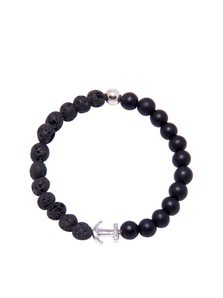 DW Lava Stone and Matte Onyx Anchor Bracelet