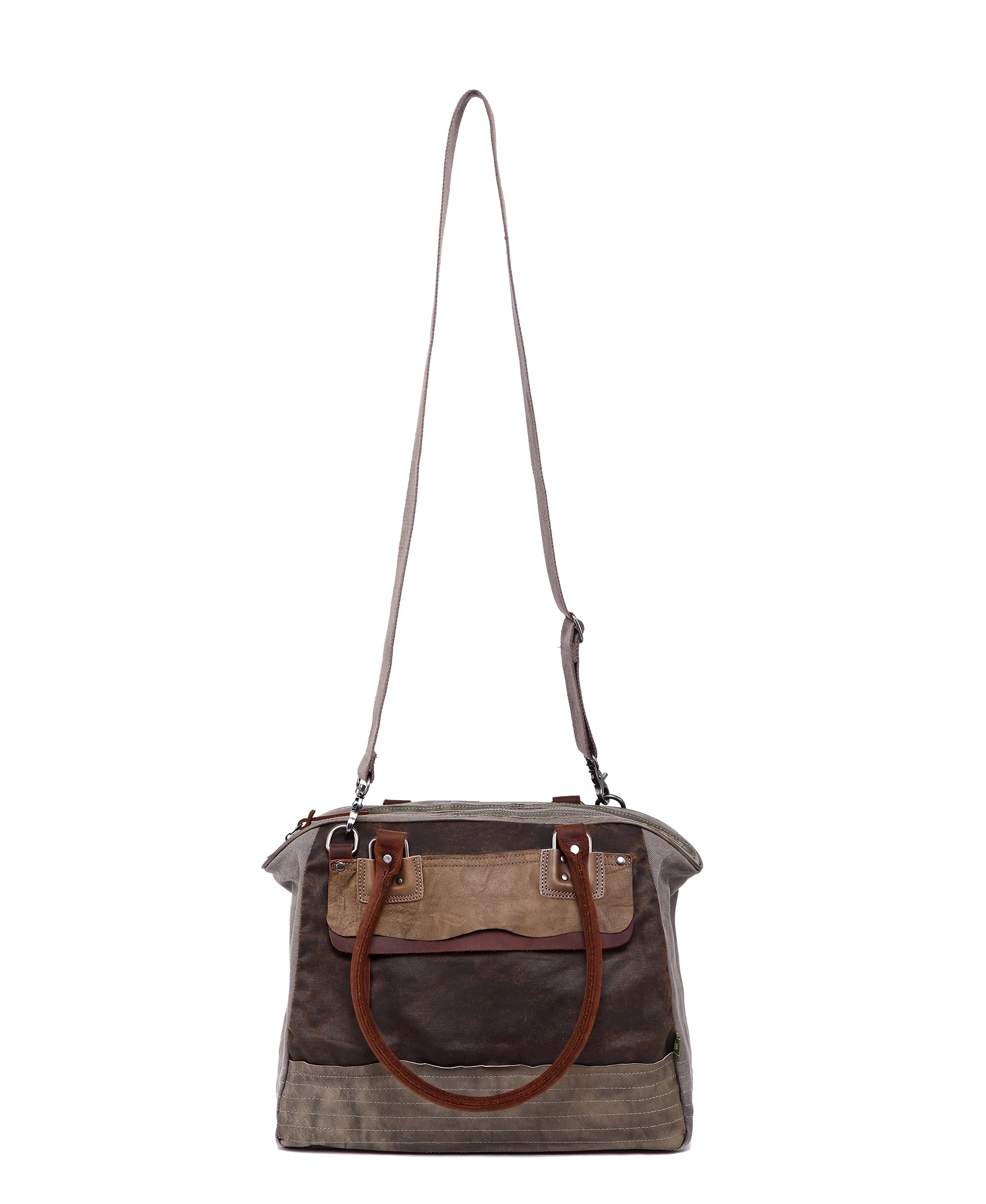 Tapa Two-Tone Canvas Satchel