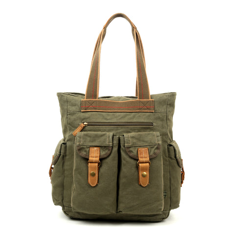 Military-Inspired Leather Forest Tote Bag