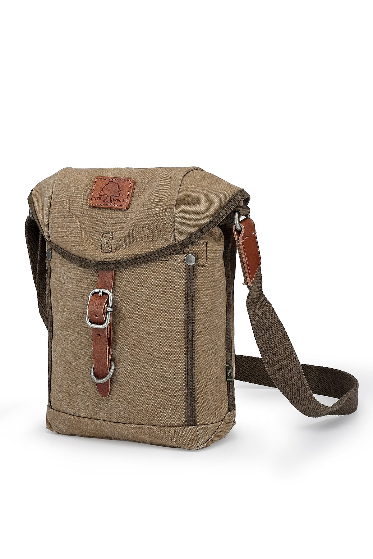 Military-Inspired Leather Forest Crossbody Bag with Flap