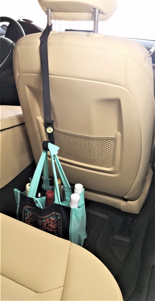 HeadRest Lasso is great as a car bag hook for your car. Car accessories for Grubhub, Instacart, and Postmates. Prevents bag spills.