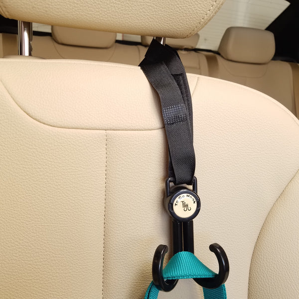 HeadRest Lasso is great as a car bag hook for your car. Car accessories for Lyft and Uber drivers.
