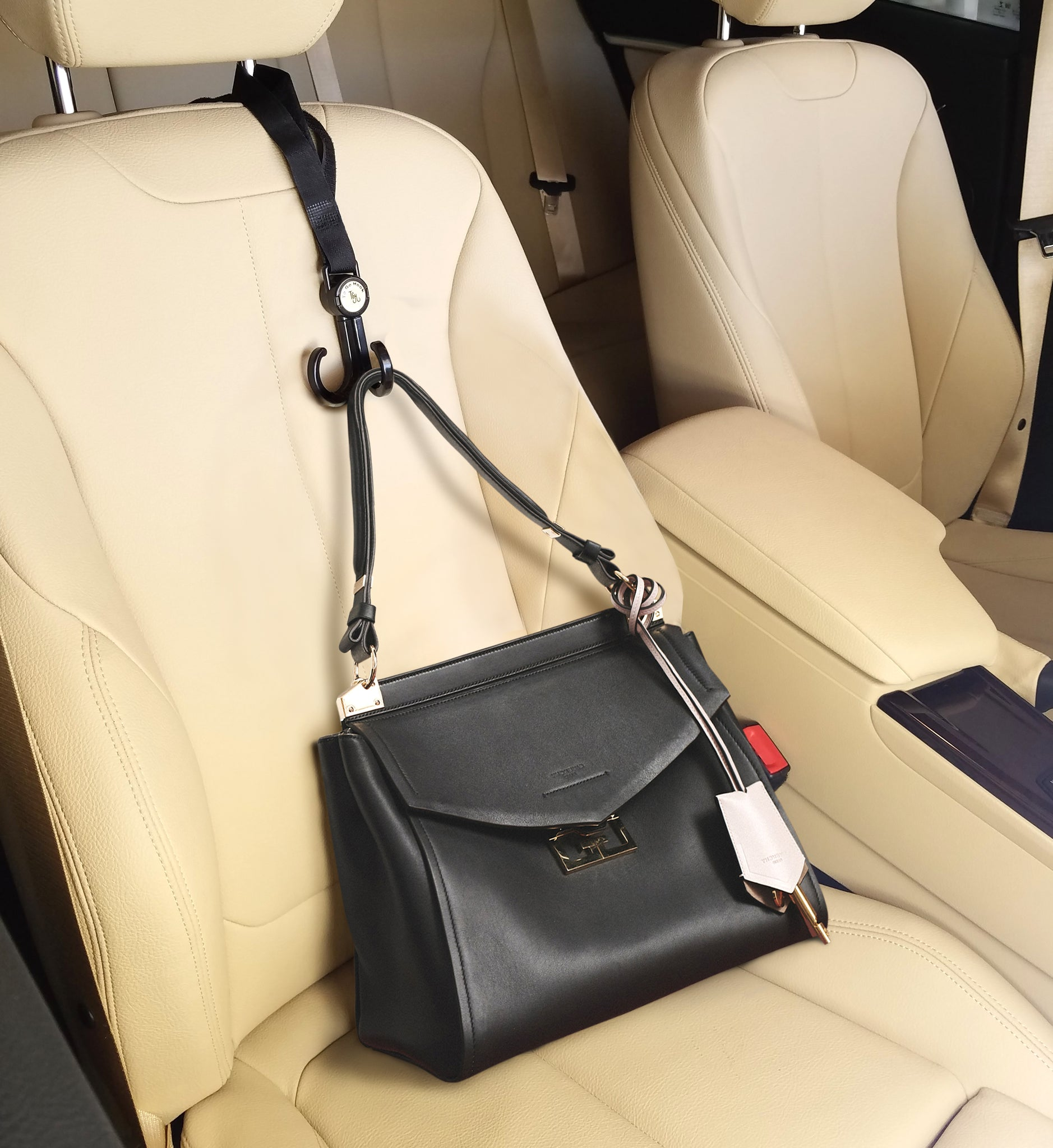 HeadRest Lasso is great as a car purse hook for your car. Car accessories for Lyft and Uber drivers.