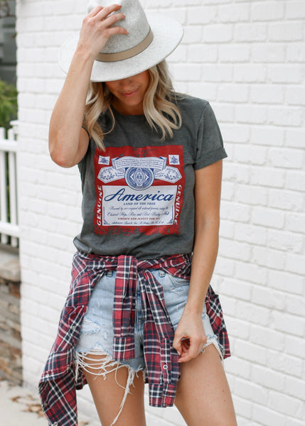 America Beer Tee - Dark Grey