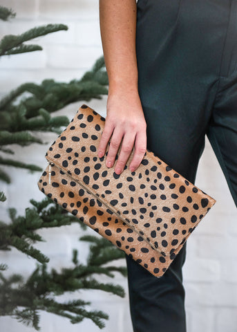 Leopard Faux Fur Envelope Clutch