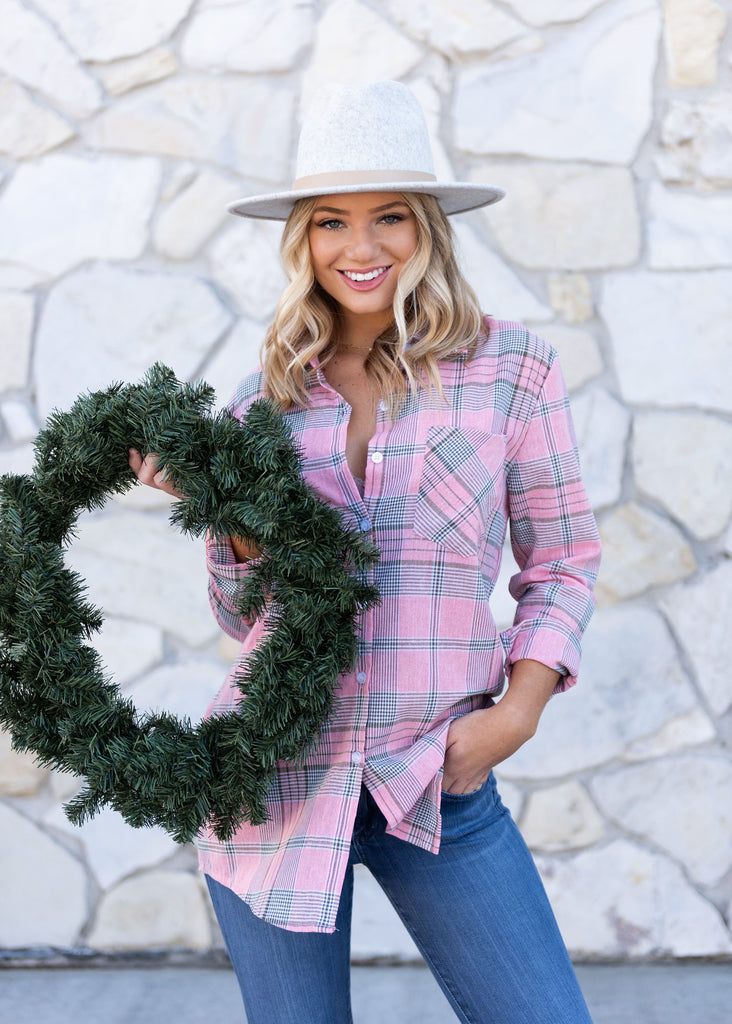 Louisville Pink Plaid Top