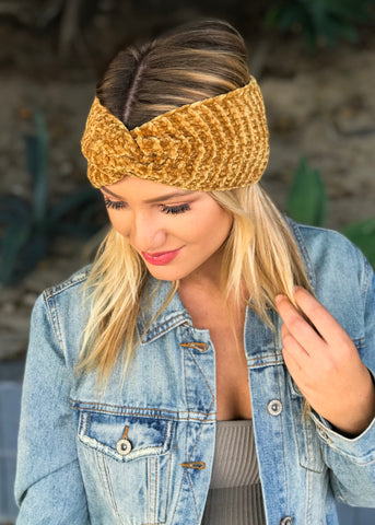 Twisted Knit Headband - Mustard
