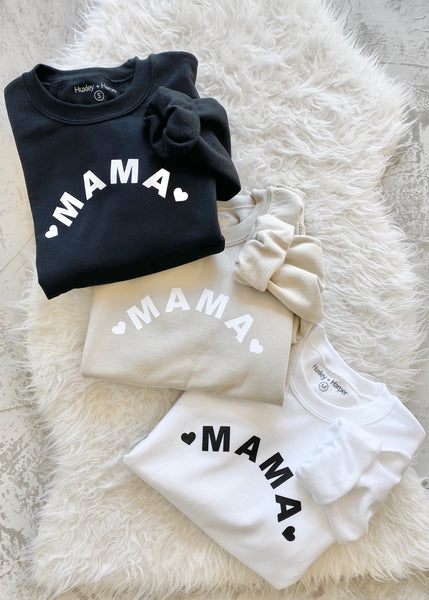 Mama Sweatshirt - Black + White + Sand