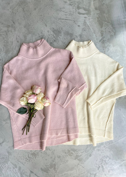 Double Layered Mock Neck Sweater - Cream